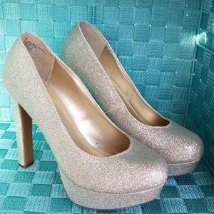 Massimo Gold Glitter Heels